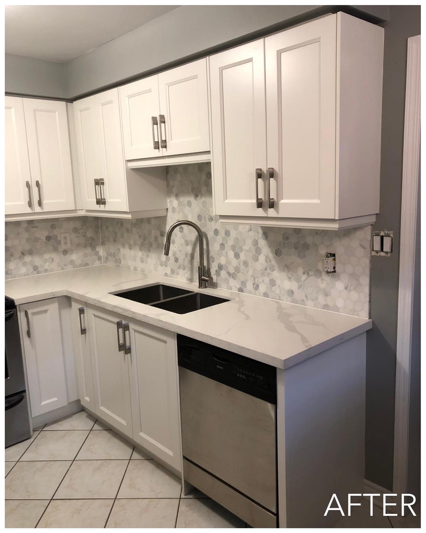 Modern Door in Satin White Kitchen - After